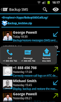 Screenshot of SMS & Call Log Backup