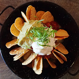 Nachos by Pamela Howard - Food & Drink Plated Food ( sour cream, nachos, mexican, food, plate, mile end, lunch, iron plate )