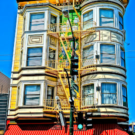 San Francisco Sight by Barbara Brock - City,  Street & Park  Neighborhoods ( fire escape, colorful, san francisco architecture, victorian building, awning )