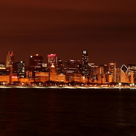 Chicago Night Skyline. by Sarita Shetty - City,  Street & Park  Skylines ( skyline, night, chicago )