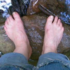 Bare Feet by Norma Moore - Novices Only Abstract ( water, ragged jeans, summer, feet, rocks )