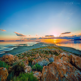 Sunset at Antelope Island by Lee Cuellar - Landscapes Sunsets & Sunrises ( water, clouds, sky, waterscape, utah, sunset, state park, antelope island, rocks, sun )