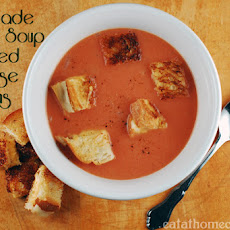 Homemade Tomato Soup with Grilled Cheese Croutons