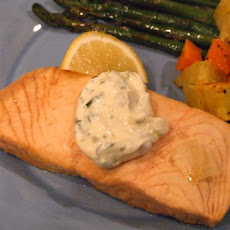 Beer- Poached Salmon with Tarragon Mayonnaise