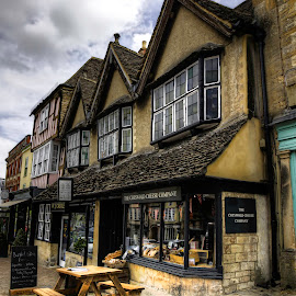 Burford by Laura Prieto - City,  Street & Park  Markets & Shops ( clouds, cotswold, quaint shops, quaint english towns, shops, burford, historic market town )