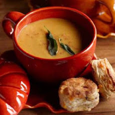 "Butternut Squash-Carrot Soup with Pork ""Croutons"""
