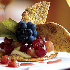 Pistachio Crisps with Mascarpone Cheese and Grape Compote
