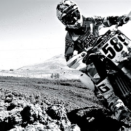 B/W upclose by Zachary Zygowicz - Sports & Fitness Motorsports ( motocross, white, dirt bike, black )