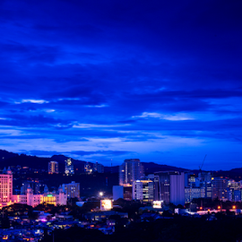 City Blue by Ritchie Linao - City,  Street & Park  Skylines ( blue hour, cebu, buildings, city )