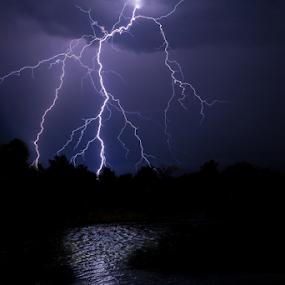 Lightning over lake by Lood Goosen (LWG Photo) - Landscapes Weather ( thunder, reflection, lightning, thunderstorm, reflections, lake, landscape, landscapes,  )
