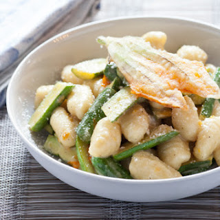 Fresh Gnocchi and Baby Zucchini with Crispy Squash Blossoms & Lemon Brown Butter