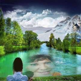 The Lady in the Lake by Darlene Lankford Honeycutt - Digital Art People ( fantasy, mountains, digital art, castles, dl honeycutt, lake, fairytale )