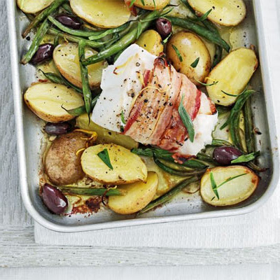 Pancetta-wrapped Fish With Lemony Potatoes