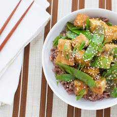 Seared Tofu & Snow Peas with Pink Sesame Rice