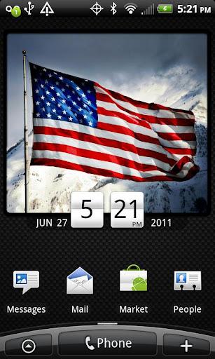 American Flag Clock Widget Pro
