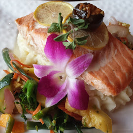 Too pretty to eat. by Cassell Archinuk - Food & Drink Plated Food ( atlanticsalmon, salmon, healthyfood, fish, glutenfreefood, chef,  )