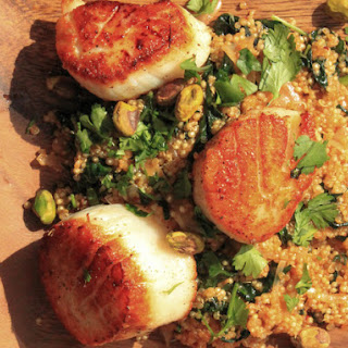 Scallops With Spicy Quinoa, Kale, and Pistachios