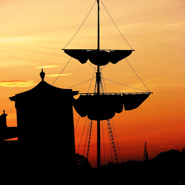 Sunset at the Port by Steven Kirwan - Landscapes Sunsets & Sunrises ( sailing, ship, sunset, artistic, transportation )