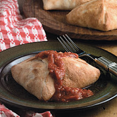 Lamb, Goat Cheese, and Roasted Pepper Calzones