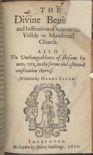 <b>From Publication to Prison</b>  Travers's colleague Henry Jacob, a Puritan minister, petitioned for religious reform when James I acceded to the English throne in 1603. Disillusioned by the monarchy's failure to reform the church Jacob developed a radical case for religious liberty. His ideas were published in a series of treatises. In this text, he argued for the power of the people to determine ecclesiastical matters by their 'free consent.' This idea posed a serious threat to royal and clerical authority over the church and was deemed so dangerous that he was imprisoned soon after first publishing these ideas in 1604.