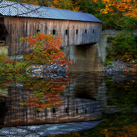 Covered Bridge by Janet Lyle - Buildings & Architecture Bridges & Suspended Structures ( autumn, fall, bridge )