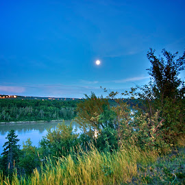Edmonton at Night by Levent Cetin - City,  Street & Park  City Parks ( canada, long exposure, moonlight, river, city )