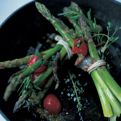 Roasted Asparagus With Rosemary & Anchovies Wrapped In Pancetta