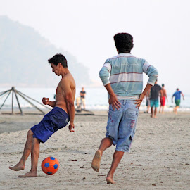 Football on the Beach  by Samy St Clair - Sports & Fitness Soccer/Association football ( mountain, sports, play, futebol, candid, beach, game, coastal, people, brazil, football, action, soccer )