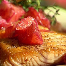 Pan-Seared Salmon with Sauteed Baby Spinach and a Pink Grapefruit Pinot Noir Sauce