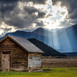 Beams by Shaun Peterson - Buildings & Architecture Public & Historical ( light rays, barn, beams, wyoming, tetons )