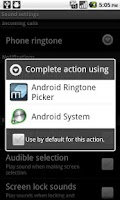 Screenshot of Ringtone Picker