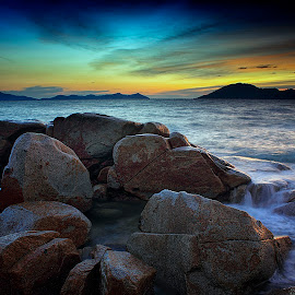 Rocks On the Beach by Dany Fachry - Landscapes Beaches ( nature, sunset, sea, rock, seascape, beach, landscape )