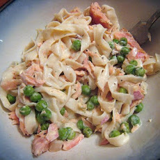 Lightened up Creamy Smoked Salmon Fettuccine