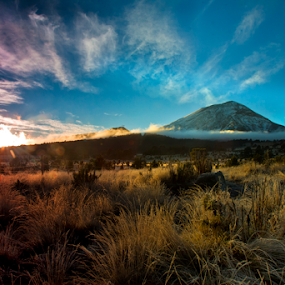 Popocatepetl, and sunrise by Cristobal Garciaferro Rubio - Landscapes Prairies, Meadows & Fields