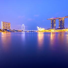 Blue hours by Jijo George - Buildings & Architecture Public & Historical ( skyline, singapore city, singapore, marina bay, city )