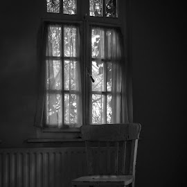 a chair by Nicky Staskowiak - Artistic Objects Furniture ( chair, black and white, abandoned )