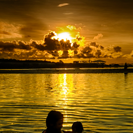 Silhouettes by Ferdinand Ludo - People Family ( cebu city, mom and child, bonding, cordoba, swimming )