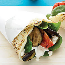 Grilled Eggplant Naan Wraps with Tahini-Yogurt Dressing