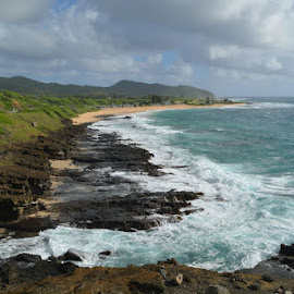 Oahu shoreline by Tina Wiley - Landscapes Beaches ( water, boulders, atlantic ocean, waves, rocky, sea, ocean, tourism, beach, travel, scenic, road, scenic byway, volcanic, tidal, landscape, oahu, crater, lava, shoreline, landscape photography, byways, hawaii )