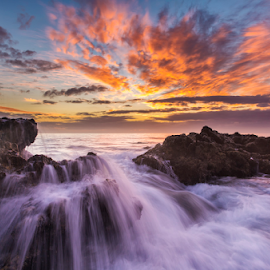 Marine Waterfall by Clive Wright - Landscapes Sunsets & Sunrises ( water, sunset, waterfall, sea, rock, ocean, sun )