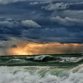 Hope in the Storm by Isaac Gershon - Landscapes Cloud Formations ( water, clouds, waves, sunset, wave, sea, cloud, storm )