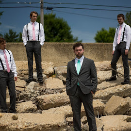 On the Rocks by Logan Evans - Wedding Groom ( groomsmen, sky, cement, four, rocks, groom )