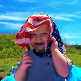 All American Boy by Alli Hurley - Babies & Children Toddlers ( babies, american flag, patriotism, toddlers, portrait )