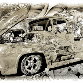 Sketchy by Michael Moriarty - Digital Art Things ( ride, pickup, truck, vehicle, digital art, f-100, transportation, whip, ford )
