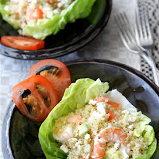 Salad Cups with Quinoa, Shrimp, Avocado & Lemon Dressing