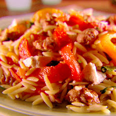 Orzo with Sausage, Peppers and Tomatoes
