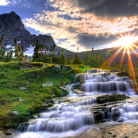 Next click by Tamal Singh - Landscapes Sunsets & Sunrises ( hills, nature, waterfall, forest, sunrise, red, green )