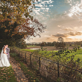Autumn Sunset by Paul Eyre - Wedding Bride & Groom ( wedding photography, nottingham wedding photographer, married, marriage photography, wedding, paul eyre images, couple, makeney hall wedding, marriage )