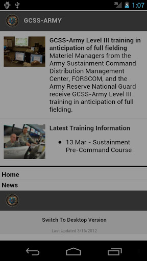 GCSS-Army Mobile Website