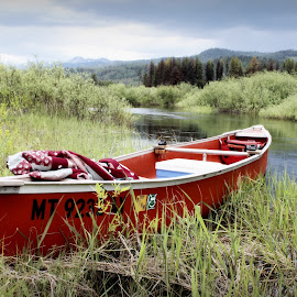 Picnic by the River by Karie Jorgensen - Transportation Boats ( stormy, wild, adventure, montana, canoe, leisure, scenic, storm, picnic, river )
